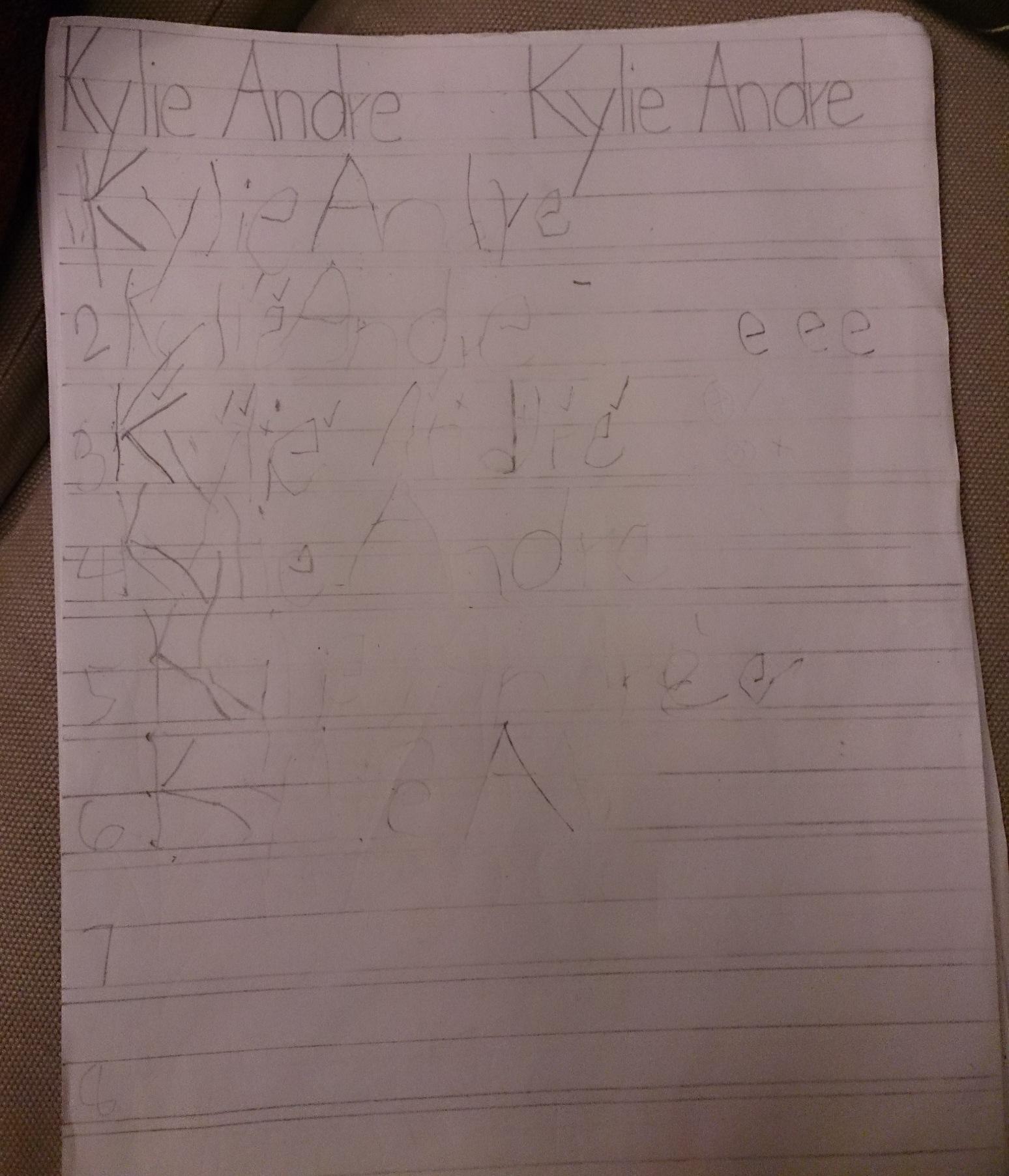 Première page d'écriture